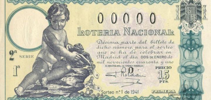 Décimo del primero Sorteo de Lotería del Niño, celebrado en 1941